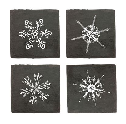 Picture of Assorted Snowflake Slate Coaster Set