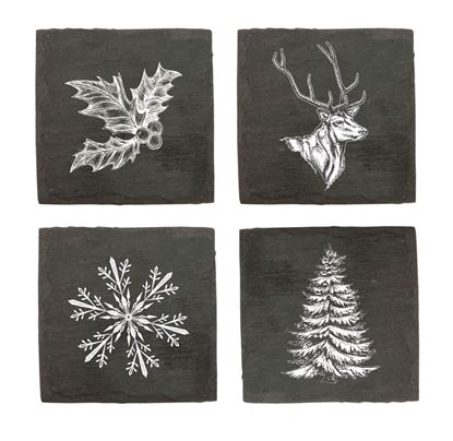 Picture of Assorted Winter Slate Coaster Set
