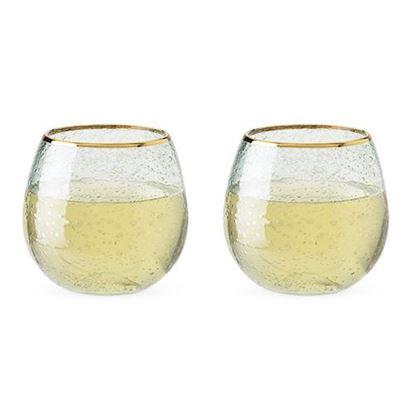 Picture of Gold Rim Bubble Wine Glass Set