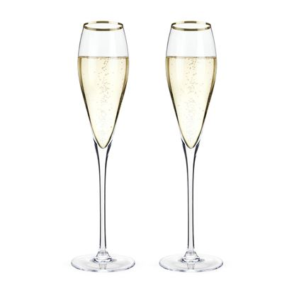 Picture of Gold Rim Crystal Champagne Flutes