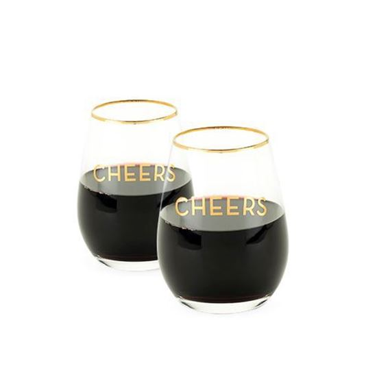 Picture of Gold Rimmed Cheers Stemless Wine Glass Set
